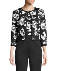 St. John - Blister Floral Knit Cardigan - Lyst