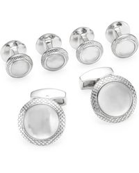 Tateossian - Quartz Doublet Round White Mother-of-pearl Cufflinks And Shirt Studs Set - Lyst