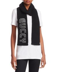 Gucci - Women's Knitted Wool Cable Sega® Font Scarf - Black - Lyst