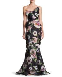 Marchesa - Strapless Bow Floral Silk Gown - Lyst