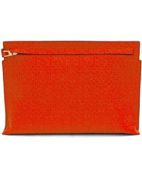 Loewe - Large Logo-embossed Leather Zip Pouch - Lyst