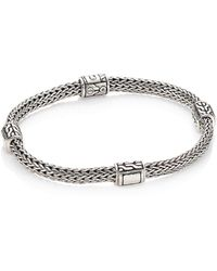 John Hardy - Classic Chain Extra Small Hammered Four Station Bracelet - Lyst