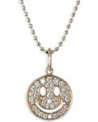 Sydney Evan - Anniversary Happy Face Diamond Pendant Necklace - Lyst