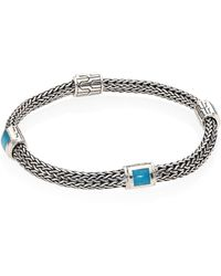 John Hardy - Classic Chain Extra Small Turquoise & Sterling Silver Four-station Bracelet - Lyst