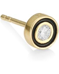 Sydney Evan - Single 14k Yellow Gold Diamond & Enamel Stud Earring - Lyst