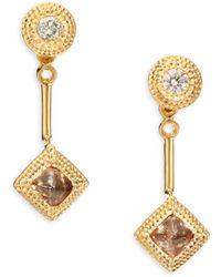 De Beers - Talisman Essence Diamond & 18k Yellow Gold Drop Earrings - Lyst