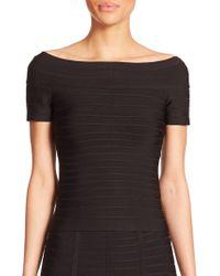 858992b723e25 Hervé Léger - Women s Off-the-shoulder Bandage Top - Black - Size Xs