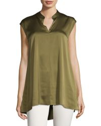 Eileen Fisher - Mandarin-collar Cap-sleeve Top - Lyst