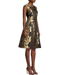 Donna Karan - New York Floral Print Jacquard A-line Dress - Lyst