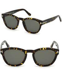 a5ac8bcb80 Tom Ford - 51mm Bryan Round Tortoise Shell Sunglasses - Lyst