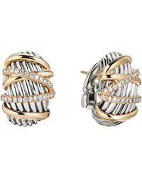 David Yurman - Helena 18k Yellow Gold & Diamond Shrimp Earrings - Lyst