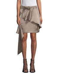 Each x Other - Linen-blend Asymmetric Khaki Mini Skirt - Lyst