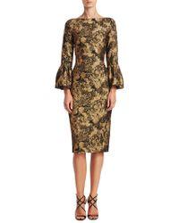 THEIA   Bell Sleeve Jacquard Dress   Lyst