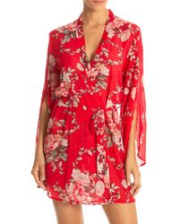 In Bloom - Moonlight Roses Belted Wrapper Robe - Lyst