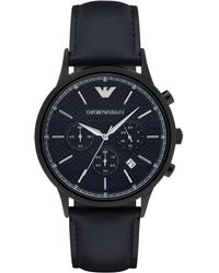 Emporio Armani - Polished Round Stainless Steel Watch - Lyst