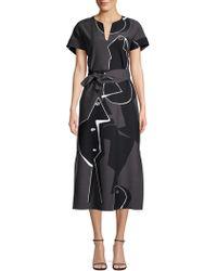 Lafayette 148 New York - Cosimia Portrait-print Short-sleeve Belted Drape Cloth Dress - Lyst