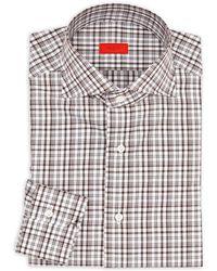 Isaia - Regular-fit Checkered Cotton Dress Shirt - Lyst