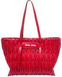 Miu Miu - Large Matlasse Leather Tote - Lyst