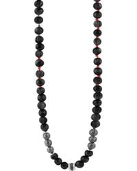 Tateossian - Formentera Sterling Silver & Black Agate Beaded Necklace - Lyst