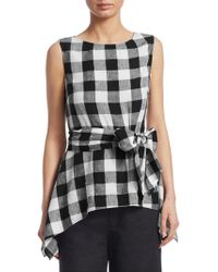 Saks Fifth Avenue - Checked Tie Front Top - Lyst