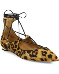 Aquazzura - Christy Leopard Print Calf Hair Lace-up Flats - Lyst