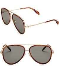 53d31baba76e Lyst - Alexander McQueen 55mm Wayfarer Sunglasses in Brown for Men