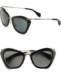 Miu Miu - Noir Catwalk Cat Eye Sunglasses - Lyst