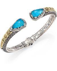 Konstantino - Iliada Chrysocolla, Quartz, 18k Yellow Gold, Sterling Silver Cuff Bracelet - Lyst