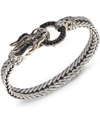 John Hardy - Naga Black Sapphire & Sterling Silver Dragon Head Bracelet - Lyst