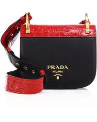 aed92c951aa4 Prada - Pionnière Leather & Crocodile Saddle Bag - Lyst