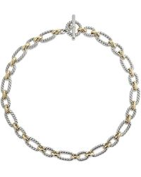 David Yurman - Cushion Link Necklace With 18k Gold - Lyst