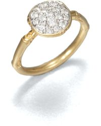 John Hardy | Bamboo Small Diamond & 18k Yellow Gold Round Ring | Lyst
