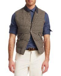 Brunello Cucinelli - Houndstooth Wool & Cashmere Puffer Vest - Lyst