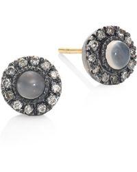 Rene Escobar - Diamond & Grey Moonstone Stud Earrings - Lyst