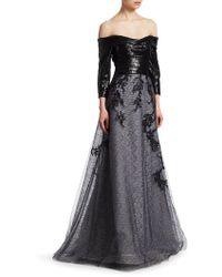Rene Ruiz - Embellished Off-the-shoulder Gown - Lyst
