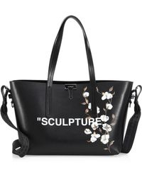 18415a5be6f8 Off-White c o Virgil Abloh - Cotton Flower Leather Shopper - Lyst