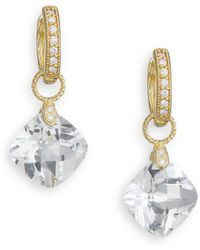Jude Frances - Classic White Topaz, Diamond & 18k Yellow Gold Cushion Earring Charms - Lyst