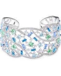 Adriana Orsini - Azure Crystal Cuff Bracelet - Lyst