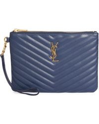 802b8d30b161 Saint Laurent - Women s Monogram Matelassé Leather Zip Pouch - Denim - Lyst