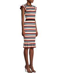 Shoshanna - Fornilla Striped Textured Knit Sheath Dress - Lyst