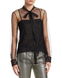 Dior - Tulle Blouse With Tie - Lyst