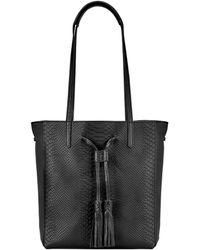 Gigi New York - Hannah Python-embossed Leather Tote - Lyst