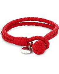 Bottega Veneta - Leather Knot Logo Bracelet - Lyst