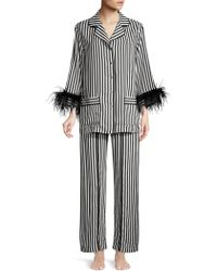 Sleeper - Striped Feather-trim Pyjama Trousers - Lyst