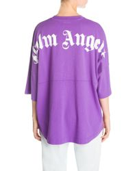 Palm Angels - Logo Cotton Oversized Tee - Lyst