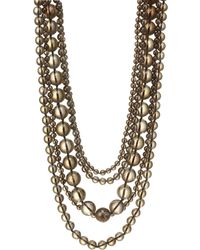 Kenneth Jay Lane | Five Row Smokey Grey Beaded Necklace | Lyst