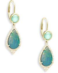 Meira T - Diamond, Turquoise, Opal & 14k Yellow Gold Drop Earrings - Gold Multi - Lyst