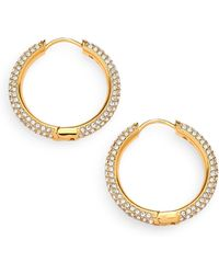 Adriana Orsini - Pave Hoop Earrings/0.8 - Lyst