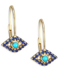 Sydney Evan - Yellow-gold Sapphire & Turquoise Evil Eye Earrings - Lyst