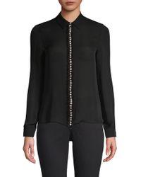 Alice + Olivia - Willa Crystal-embellished Silk Shirt - Lyst